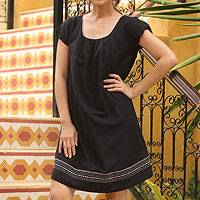 Cotton dress, 'Flirty by Night' - Black Embroidered Cotton Dress