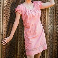 Cotton dress, 'Flirty in Pink' - Cotton dress
