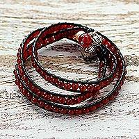 Leather and carnelian wrap bracelet, 'New Tribal' - Leather and Carnelian Beaded Wrap Bracelet