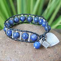 Leather and lapis lazuli heart bracelet, 'Love's Universe' - Handcrafted Leather and Lapis Lazuli Heart Bracelet