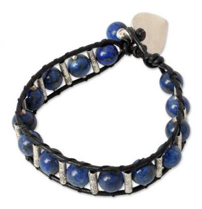 Handcrafted Leather and Lapis Lazuli Heart Bracelet