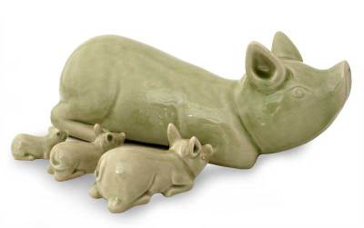 Celadon ceramic figurines (Set of 4)