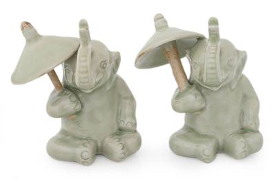 Hand Made Celadon Ceramic Figurines (Pair)