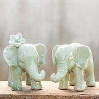 Celadon ceramic figurines 'Noble Elephants' (pair) - Celadon Ceramic Sculptures (Pair)
