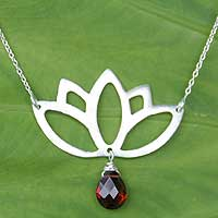 Garnet pendant necklace, 'Buddha Lotus' - Handmade Sterling Silver and Garnet Pendant Necklace
