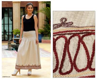 Cotton skirt, 'Leisure' - Fair Trade Embroidered Cotton Skirt from Thailand