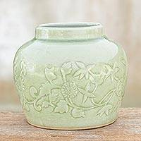 Celadon ceramic vase, 'Breath of Spring' - Handcrafted Celadon Ceramic Vase