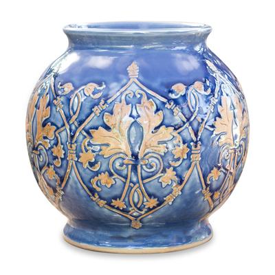 Celadon ceramic vase, 'Thai Sapphire' - Handmade Celadon Ceramic Vase