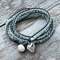 Leather and amazonite wrap bracelet,