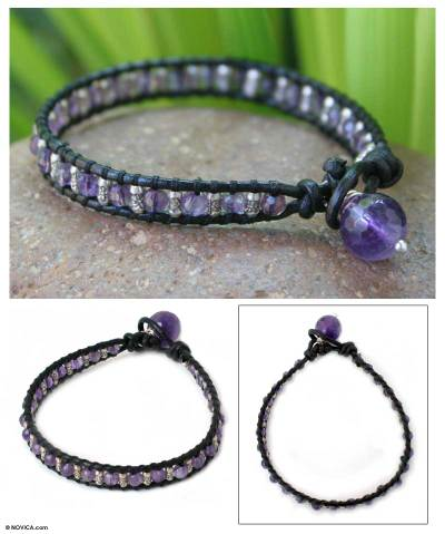 Leather and amethyst wristband bracelet, 'Intrepid' - Leather and Amethyst Beaded Bracelet