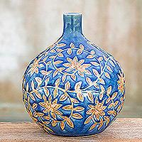 Celadon ceramic vase Golden Jasmine Thailand