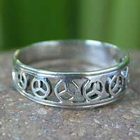 Sterling silver band ring, 'Plea for Peace' - Handcrafted Sterling Silver Band Ring