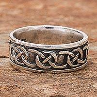 Sterling silver band ring, 'Love's Geometry' - Artisan Crafted Sterling Silver Band Ring