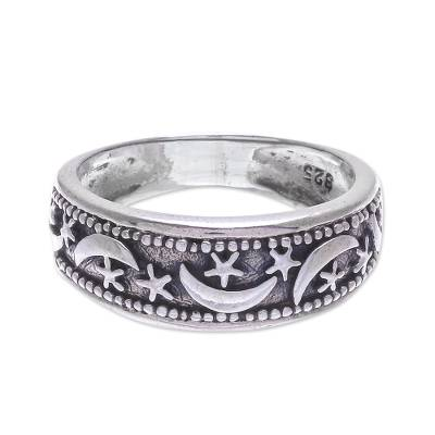 Sterling silver band ring, 'Moon Magic' - Hand Made Sterling Silver Band Ring from Thailand