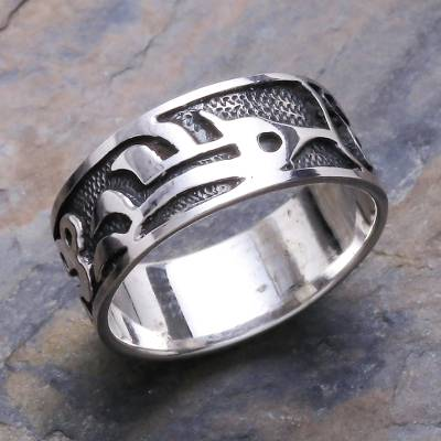 Sterling silver band ring, 'Forest Shadow' - Sterling Silver Band Ring