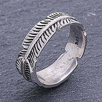 Sterling silver band ring, 'Banana Leaf' - Unique Thai Sterling Silver Band Ring