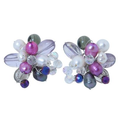 Floral Multigem Button Earrings
