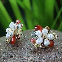 Pearl flower earrings, 'Autumn Blossom' - Thai Carnelian And Pearl Earrings