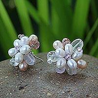 Pearl flower earrings, 'Pink Blossom'