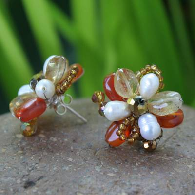 Pearl flower earrings, 'Sun Blossom' - Pearl flower earrings