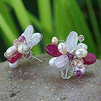 Pearl flower earrings, 'Morning Blossom'