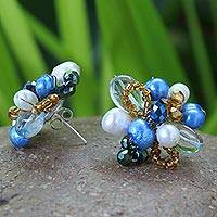 Cultured pearl flower earrings, 'Blue Blossom' - Unique Floral Button Earrings