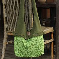 Cotton shoulder bag, 'Emerald Paisley' - Cotton shoulder bag