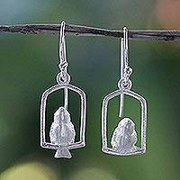 Sterling silver dangle earrings, 'Nightingale' - Sterling Silver Dangle Bird Earrings