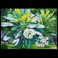 'Frangipani lV' - Floral Watercolor Painting from Thailand