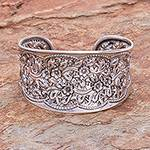 Women's Floral Sterling Silver Cuff Bracelet, 'Wild Daisies'