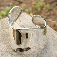 Sterling silver cuff bracelet, 'Graceful' - Women's Cuff Bracelet Handcrafted from Sterling Silver