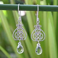 Prasiolite heart earrings, 'Celebrate Love' - Artisan Crafted Prasiolite and Silver Heart Earrings