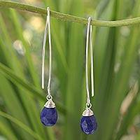 Lapis lazuli dangle earrings, 'Sublime' - Handcrafted Lapis Lazuli and Silver Earrings