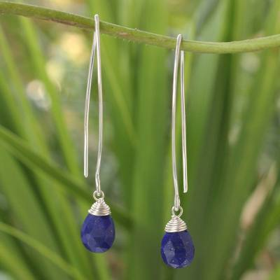 Lapis lazuli dangle earrings, 'Sublime' - Sterling Silver and Lapis Lazuli Dangle Earrings