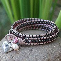 Garnet and pearl wrap bracelet, 'Love Glows' - Beaded Garnet and Pearl Wrap Bracelet