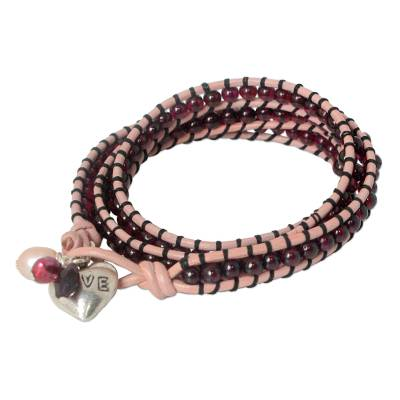 Beaded Garnet and Pearl Wrap Bracelet