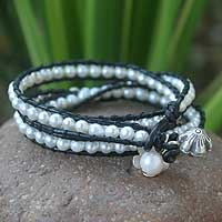 Cultured pearl and leather wristband bracelet, 'Moonlit Rose' - Artisan Crafted Floral Cultured Pearl Wrap Bracelet