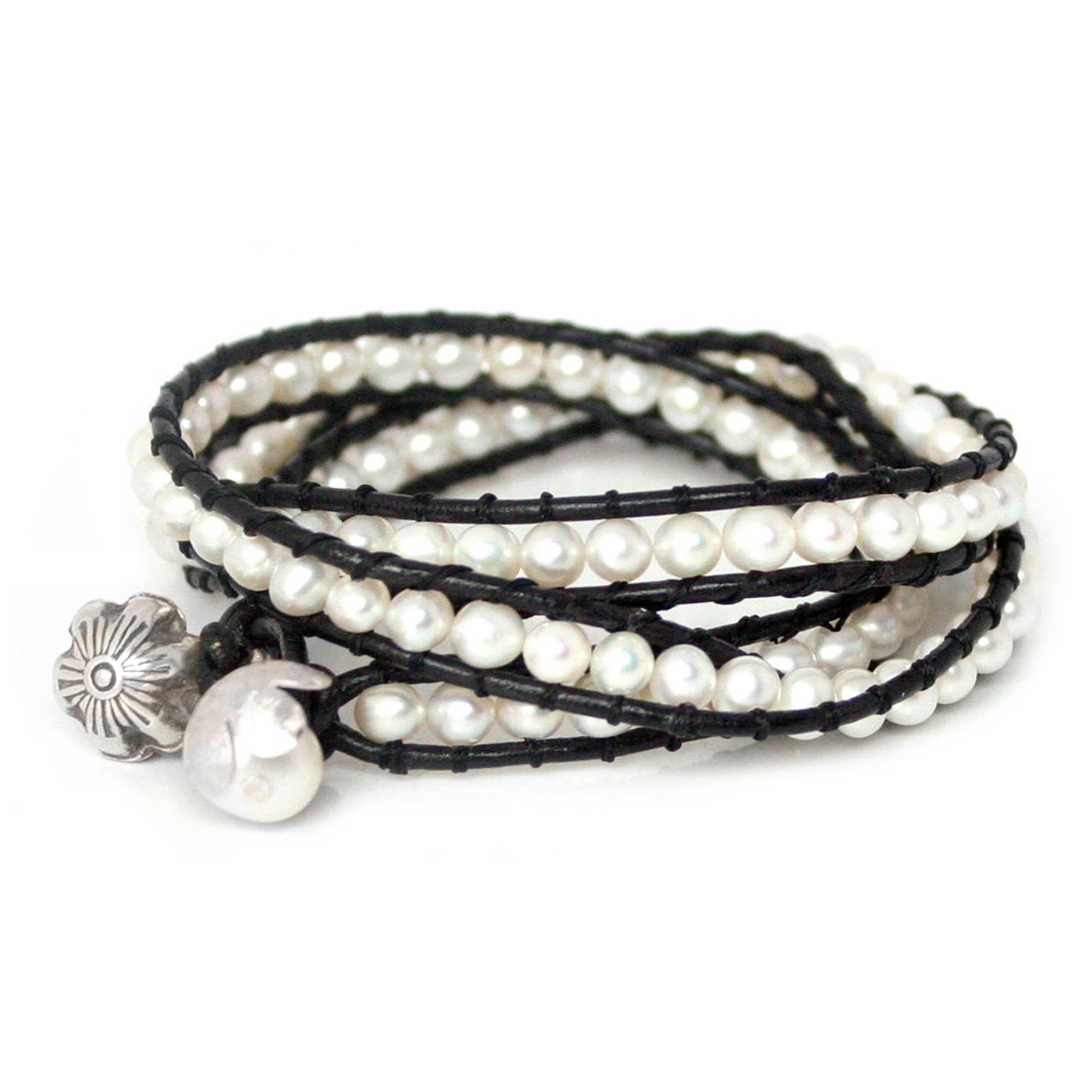 Calibre Lancer Black Dial Chronograph Men's Watch SC-5L2 Black leather pearl wrap around fashion bracelet