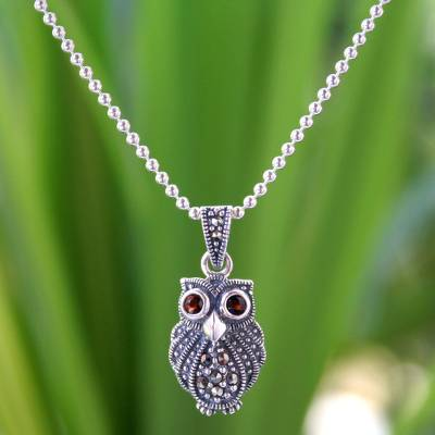 Marcasite and garnet pendant necklace, 'Little Owl' - Thai Sterling Silver and Marcasite Pendant Necklace