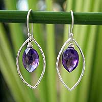 Amethyst dangle earrings, 'Purple Iris' - Sterling Silver and Amethyst Dangle Earrings