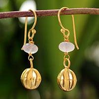Gold vermeil rose quartz earrings, 'Star Fruit' - Gold vermeil rose quartz earrings