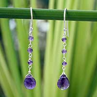Amethyst dangle earrings, 'Lady'