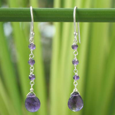 Amethyst dangle earrings, 'Lady' - Handmade Amethyst Dangle Earrings