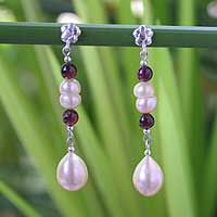 Pearl and garnet dangle earrings, 'Romantic Thai' - Pearl and garnet dangle earrings