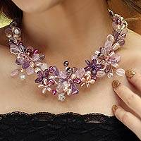 Pearl and amethyst flower necklace, 'Lavender Romance'