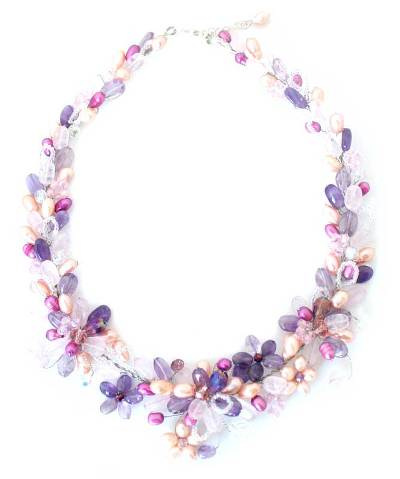 Handmade Bridal Rose Quartz and Pearl Necklace