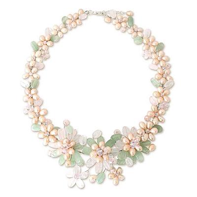 Handmade Rose Quartz and Pearl Necklace