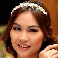 Pearl and rose quartz flower headband Spring Garland Thailand