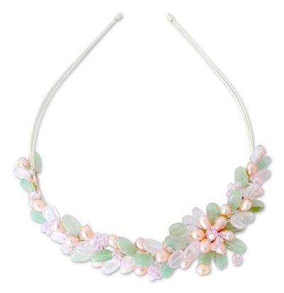 Pearl and rose quartz flower headband