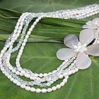 Pearl and chalcedony flower necklace, 'Blossoming Romance' - Pearl and chalcedony flower necklace